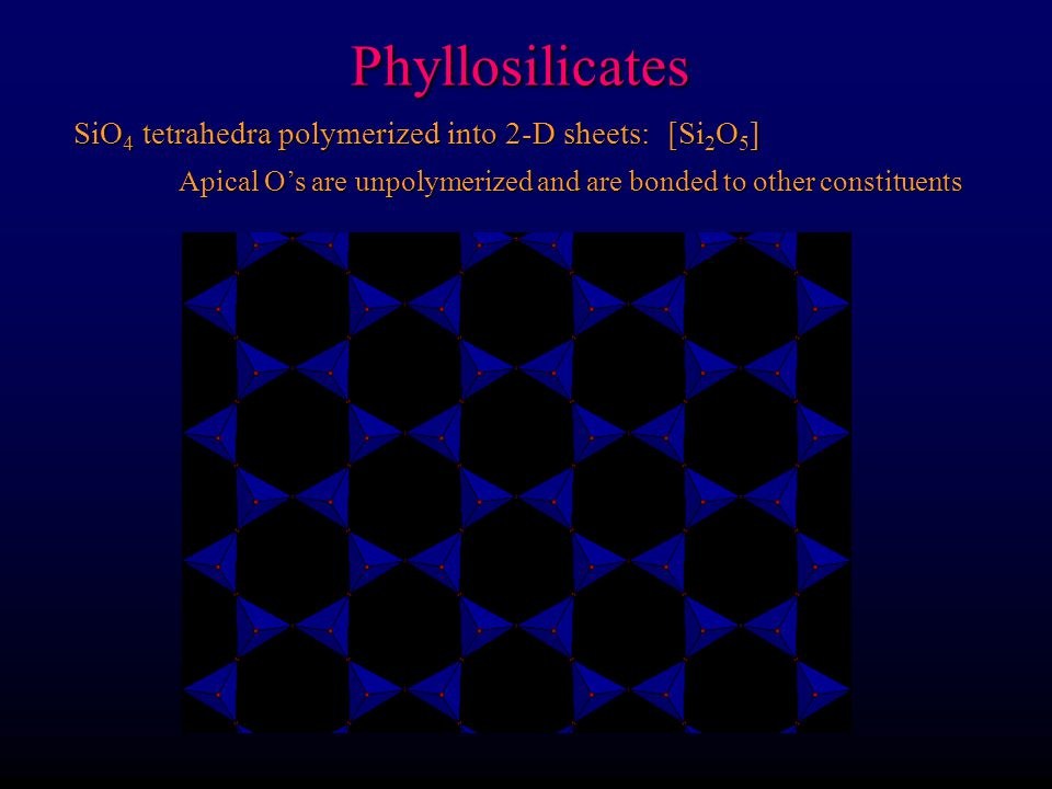 Phyllosilicates SiO4 tetrahedra polymerized into 2-D sheets: [Si2O5]